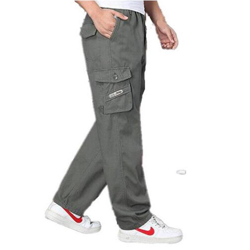 Men's Cargo Pant Casual Men Elastic Waist Multi-Pocket Overall Male Combat Long Baggy Large Trouser XL 4XL 5XL 6XL ZHAN DI JI PU