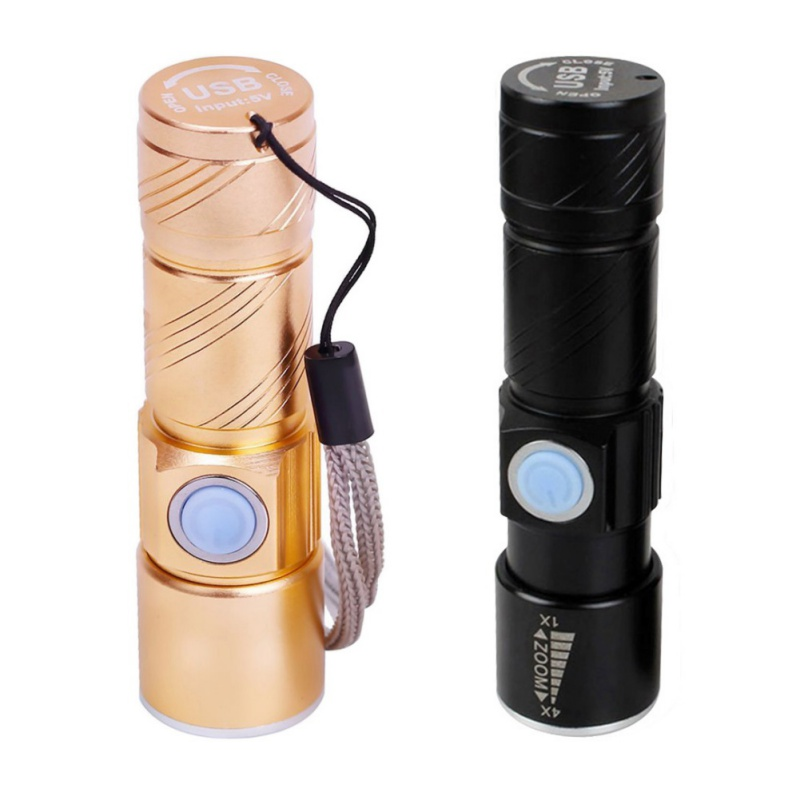 Mini Flashlight USB Rechargeable Waterproof LED Torch Cycling Camping Emergency Flashlight Zoomable Bicycle Light
