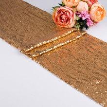 1 stuk 30x275 cm 30x180 Goud Rose Zilver Pailletten tafelloper voor Party tafel doek Bruiloften Decoratie Tafellopers