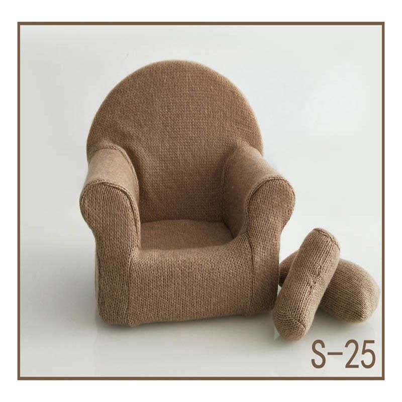 Реквизит для фотосъемки новорожденных, позирующий мини-диван, кресло на руку и 2 подушки, реквизит для фотосессии, студийные аксессуары для детей 0-3 месяцев - Цвет: 25