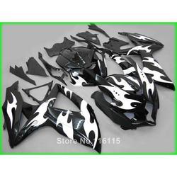 Perfect fit for SUZUKI K8 K9 GSXR 600 750 2008 2009 2010 white flames black fairing kit GSXR600 GSXR750 08 09 10 fairings set XF