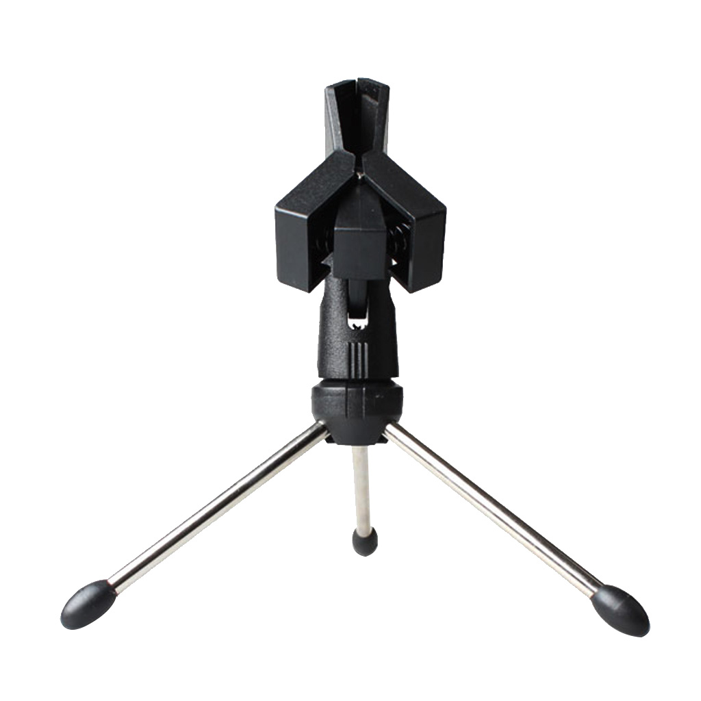 Tripod Desktop Table Microphone Mic Camera Stand with Spring Clip Foldable