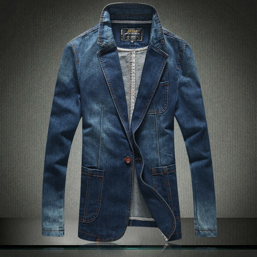 buy 2017 new arrival fashion slim fit denim blazer men single button veste. Black Bedroom Furniture Sets. Home Design Ideas