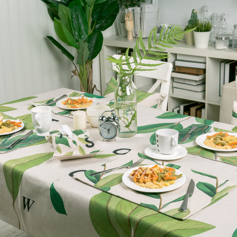 American style Rural Table decor Restaurant Dining Wedding TV 8822 Thick Linen Tablecloth Cover Plants Pattern Home Decorative