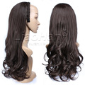 3/4 Half Wig Fall Loose Wavy Dark Brown Wig with Braided Hairband Heat Resistant Synthetic Wig Brown Hair Fall Color #4