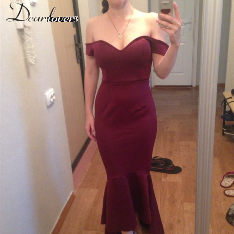 dbcf75b19c Dear lover Maroon  Navy Off shoulder Elegant Mermaid Dress Summer Autumn  2017 Women Formal Dresses For Special occassion LC60171-in Dresses from  Women s ...