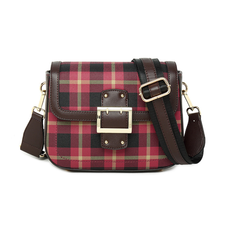 Homeda Woman Shoulder Bag Fashionable Genuine Leather Checkered Crossbody Bags Small Hand Bag Bolsa Feminina