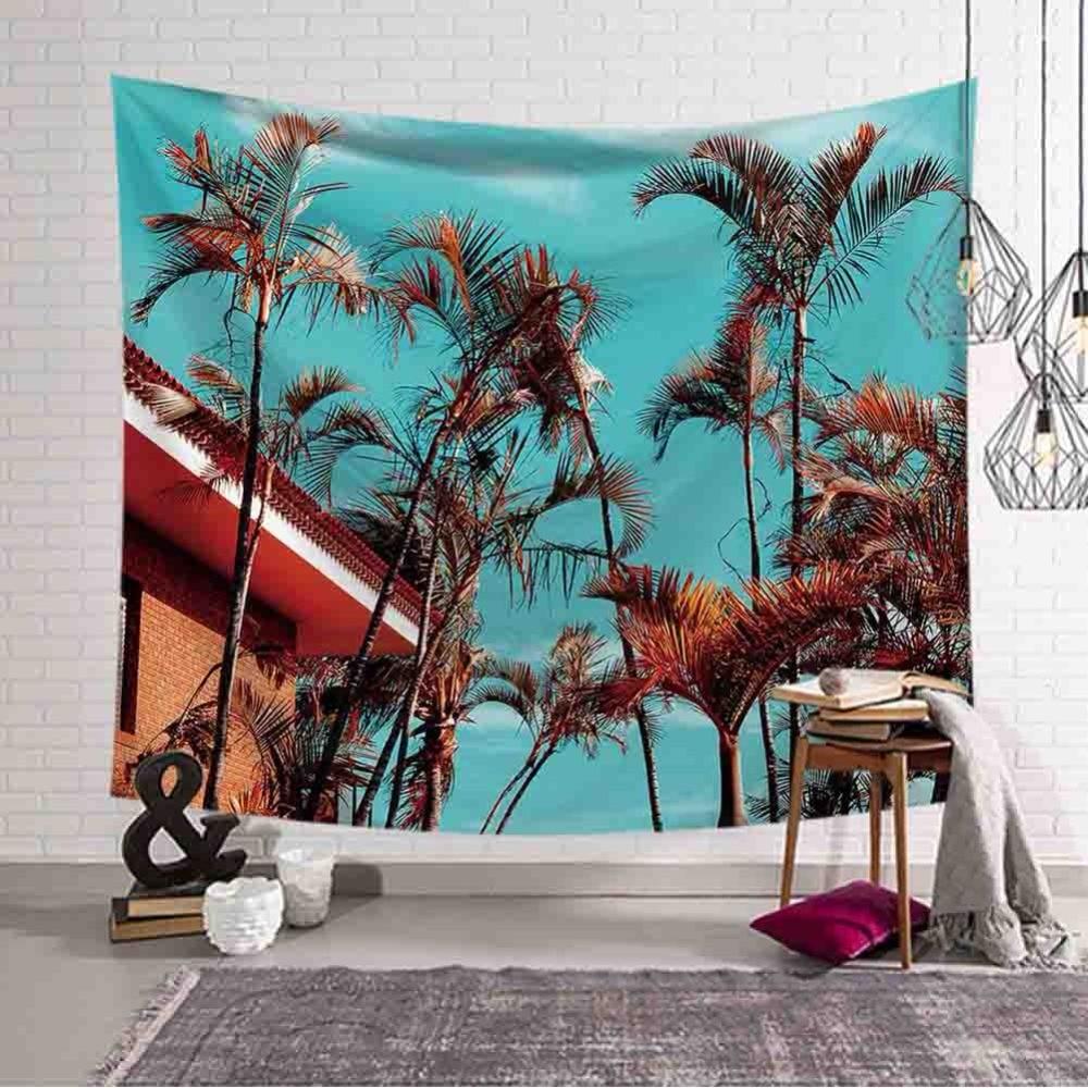 Cozy Seaside Coastal Natural Scenery Wall Hanging Gobelin Mural Coconut Tree Printed Polyester Beach Tapestry Bedroom Decor Art