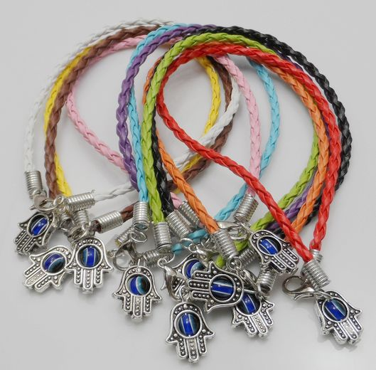 Free Shipping Wholesale 100Pcs HAMSA HAND Silver  Eye Mixed String Bracelets Lucky Charm Pendant Leather 20cm