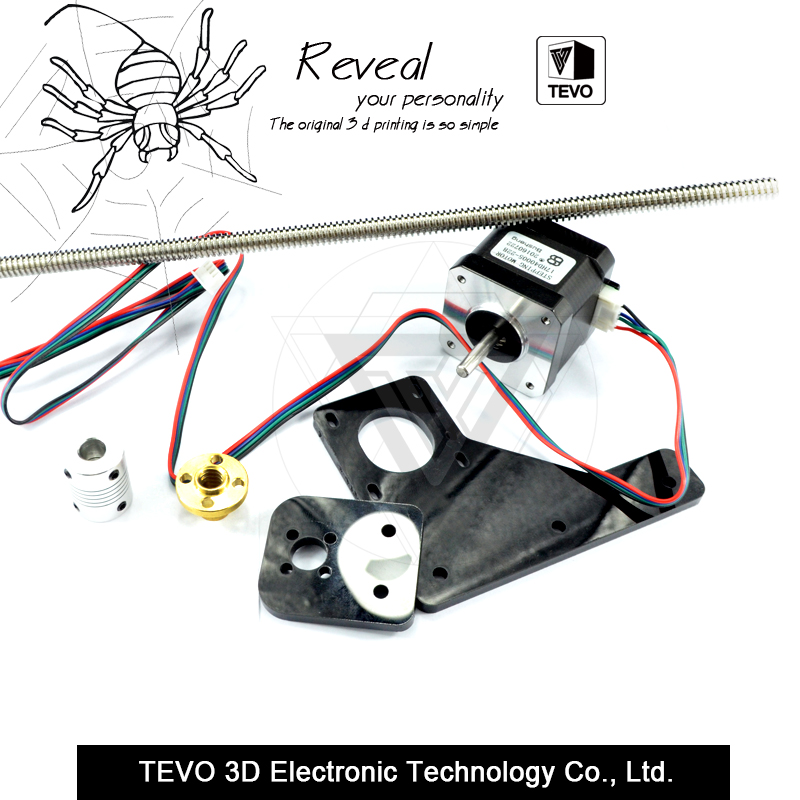 TEVO Tarantula Dual Z Axis Upgrade Kit Nema 42 step motor & T8*2 lead screw 375 mm 8mm with brass copper for 3D printer part 3d printer parts reprap ultimaker z motor with trapezoidal lead srew tr 8 8 p2 free shipping