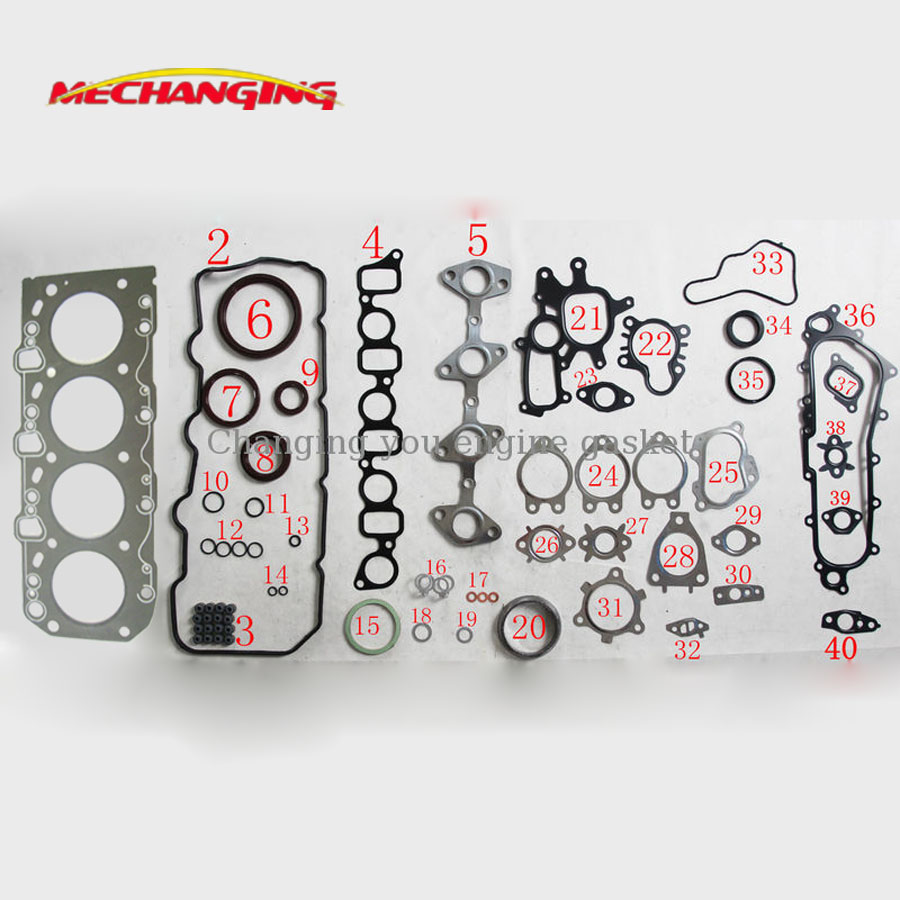 For Toyota Hilux Hiace Dyna 2kd Ftv 25l Engine Parts Full Set Subaru 2 5l Schematic Auto Gasket 04111 30030 51019700 On Alibaba Group