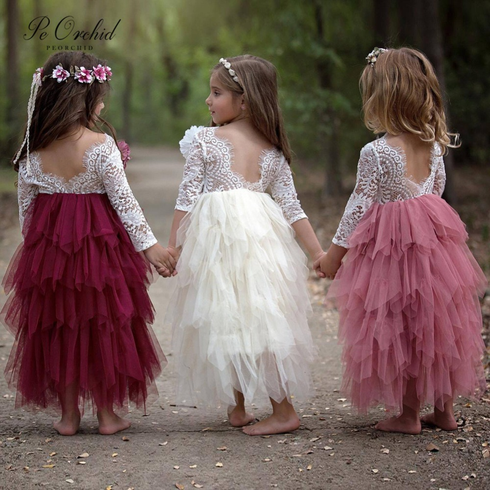 PEORCHID 2019 Purple Pink Lace   Flower     Girl     Dresses   For First Holy Communion Tulle Prom   Dresses   For Little   Girls   Formal Gown