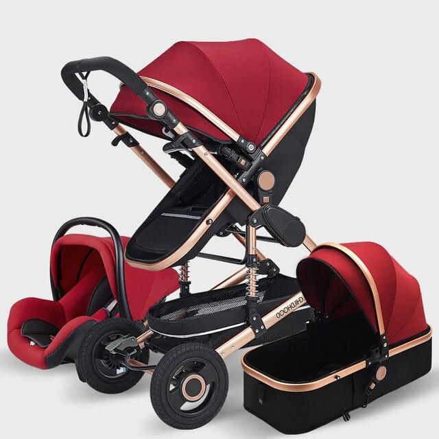 Luxo carrinho de bebê alta landview 3 em 1 carrinho de bebê portátil carrinho de bebê carrinho de bebê carrinho de bebê conforto do bebê para recém-nascido 5