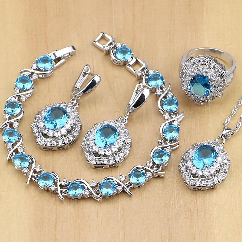 925 Silver Jewelry Blue Cubic Zirconia White CZ Jewelry Set Women Party Earrings/Pendant/Necklace/Rings/Braceletcz jewelry setjewelry setsjewelry sets women -
