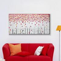 Free Shipping Modern Wall Art Home Decoration Red Tree Romantic Leaf Rain Large Living Room Oil Painting Pictures on Canvas