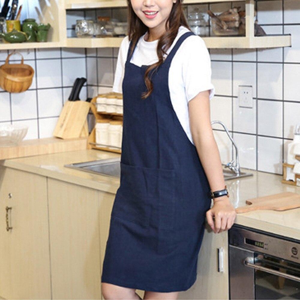 1*Women Cotton Linen Cross Back Apron Japanese Housework Wrap Pinafore Dress New