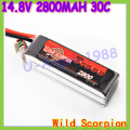 HK Free shipping wild scorpion 100% Brand Li-PO 14.8V 2800mAh 30C 4S RC Car Helicopter model plane Lipo Battery