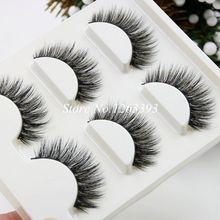 3D Mink False Eyelashes 3 Pairs Natural Crisscross Stitching Soft Three-Dimensional Fake Eyelashes Stage Makeup Lashes
