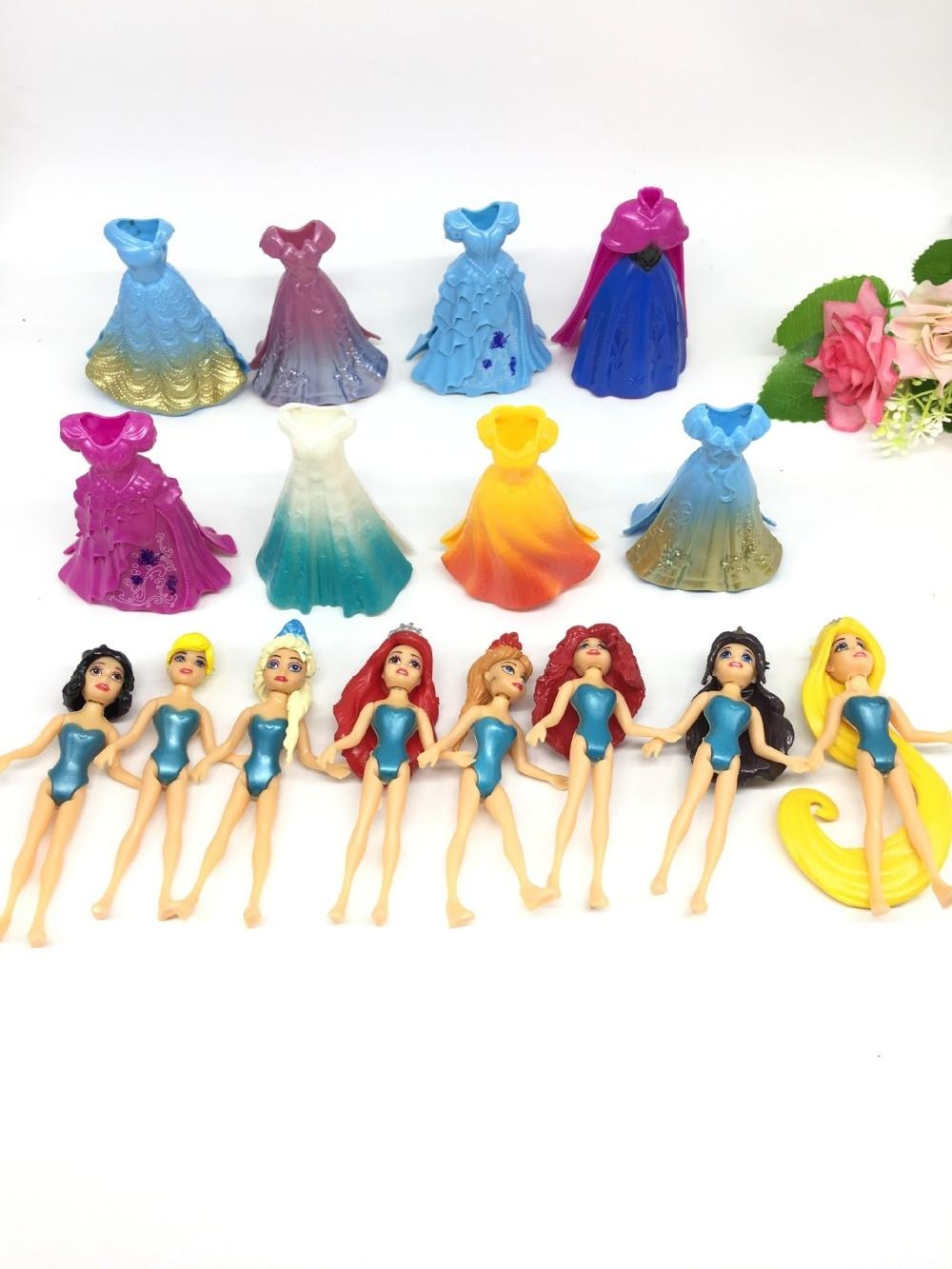 8pcs set Dress up princess Anime Action Figures Ariel Queen Statue Magic Clip Princess Dolls Kids