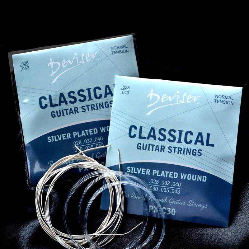 6pcs/set Guitar Strings Nylon Silver Strings Set Plating Super Light For Classic Acoustic Guitar High Quality Guitar Strings