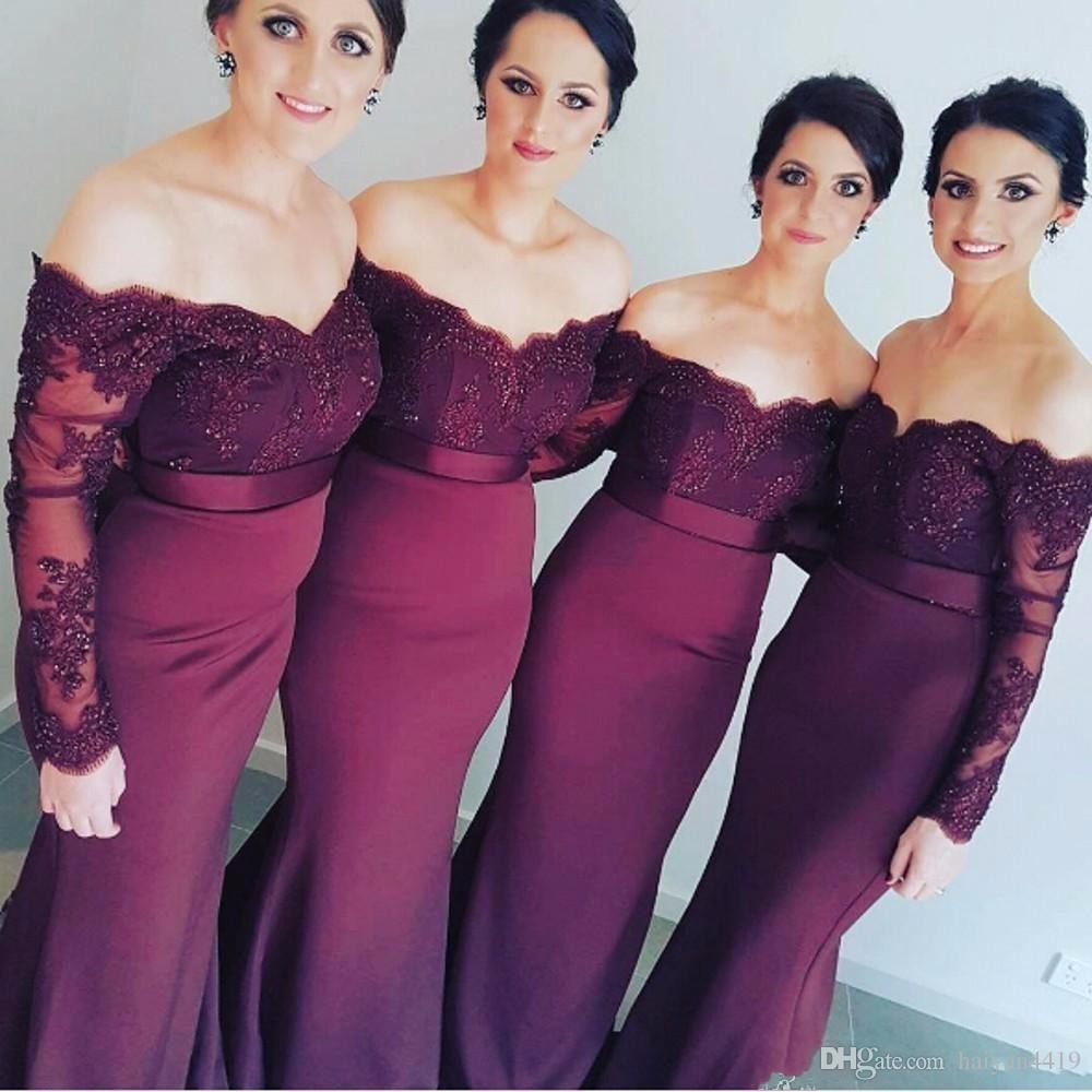 Sexy Lace Burgundy Bridesmaid Dresses 2018 hot Mermaid Long Sleeve Beaded Long Bridesmaid Dress Formal Maid Of Honor plus size