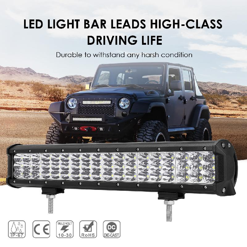 Auxmart 17inch 216W LED Light Bar Offroad 3-Row Combo LED Working Fog Light LED Lamp Driving Pickup Truck SUV ATV 4X4 4WD Led auxmart 23 324w 3 row led light bar