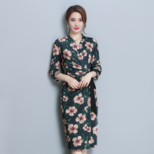 Autumn Dress women elegant korean bow casual print dress long slim V-neck bag hip dresses ladies party Vestido Verano Robe Femme