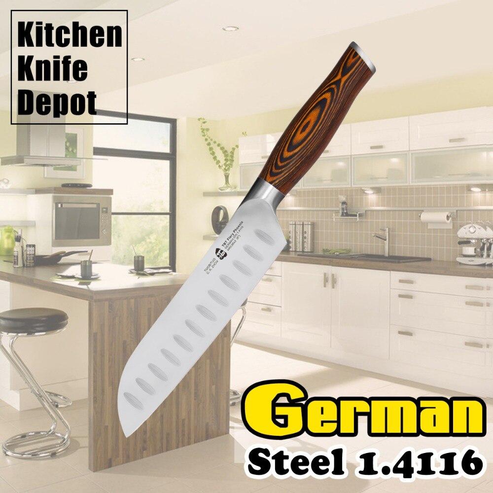 7 Santoku font b Knife b font German Steel 1 4116 Pakkawood Handle Stainless Steel Kitchen