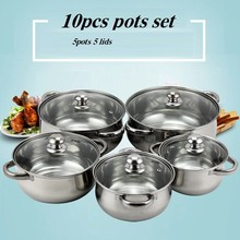 COOKING POTS SET NORMAL 10pcs OF 5 POTS INOX   COOKWARE SET  CASSEROLES with gift box 1-5LITRE