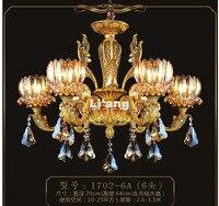 Бесплатная доставка европейской античная латунь Хрустальная люстра в продвижение лампы E14 LED AC латунь Кристалл лампы Блеск подвеска огни