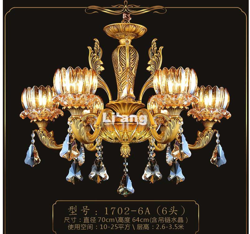 все цены на Free Shipping European Brass Antique Crystal Chandelier In Promotion Lamp E14 LED AC Brass Crystal Lamp Lustre Suspension Lights онлайн