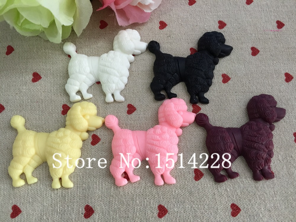 Mixed Colors.Resin Lovely Poodle.Resin Flatback Cabochon For Home Decoration ,DIY 53*57mm