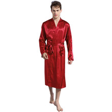 Spring Autumn Luxury Bathrobe Mens Plus Size Silk Satin Pajamas Kimono  Summer Soild Color Male Nightgown 2c4c7b92d