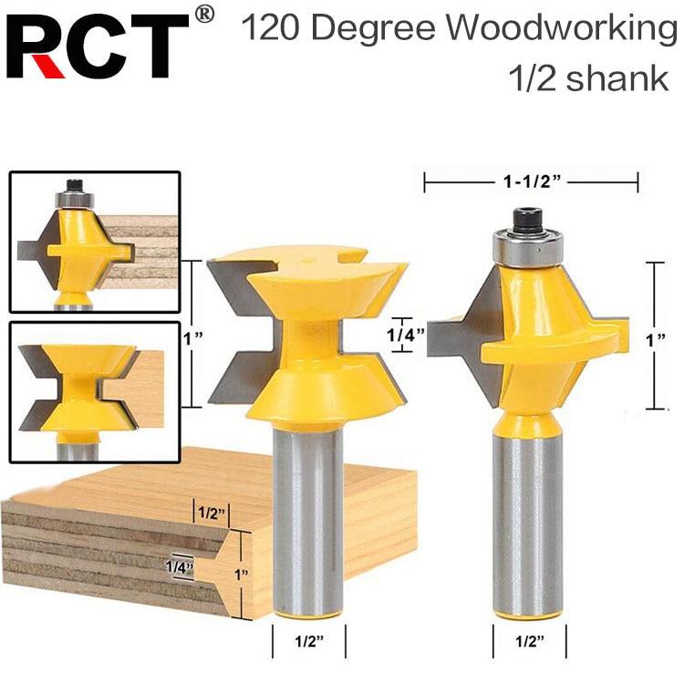 2Pcs 1/2 Shank Router Bit Set 120 Degree Woodworking Groove Chisel Cutter Tool 2pcs 1 2 shank router bit set 120 degree