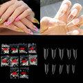500 шт./упак. остроконечные акриловые накладные ногти на шпильках бежевого цвета для украшения ногтей