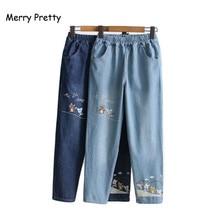 Веселые милые винтажные парни джинсы женские мультфильм вышивка женщины эластичные брюки с высокой