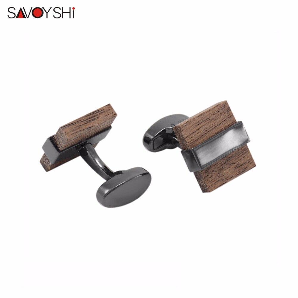 Low-key Luxury Wood Cufflinks Square High Quality Brown Black wood Mashup Men's shirt Cuff links Wedding Gift SAVOYSHI Brand