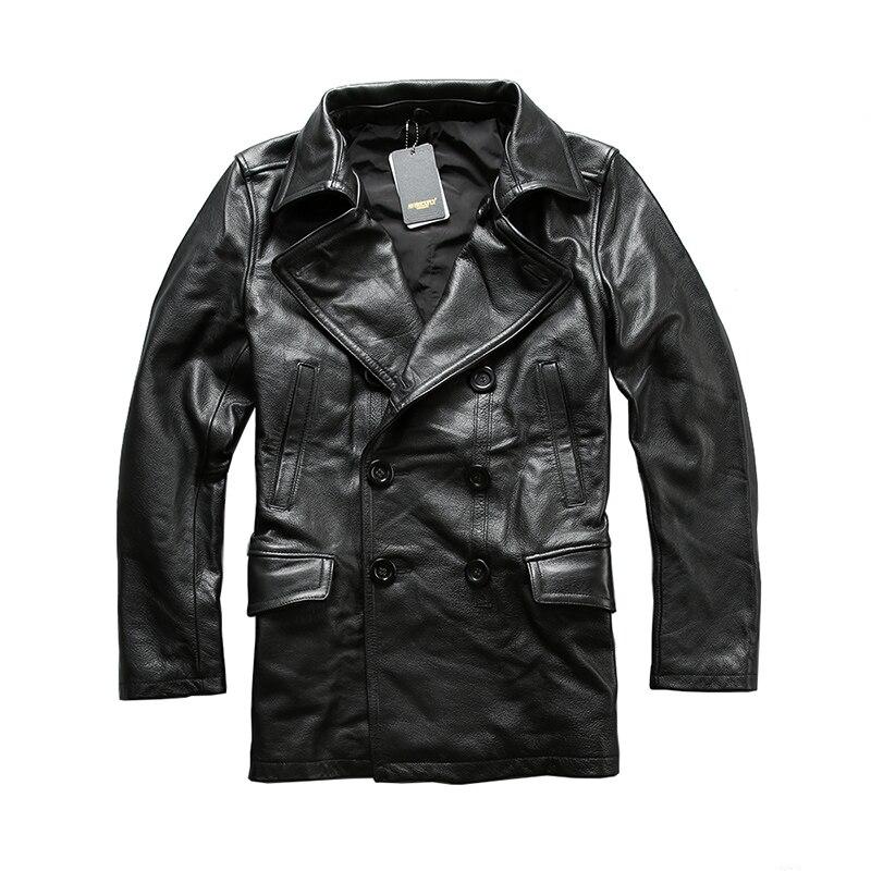 Leggere la Descrizione! formato asiatico eccellente del cuoio della mucca inverno uomo giacca classica pelle di vacchetta pea coat A1657