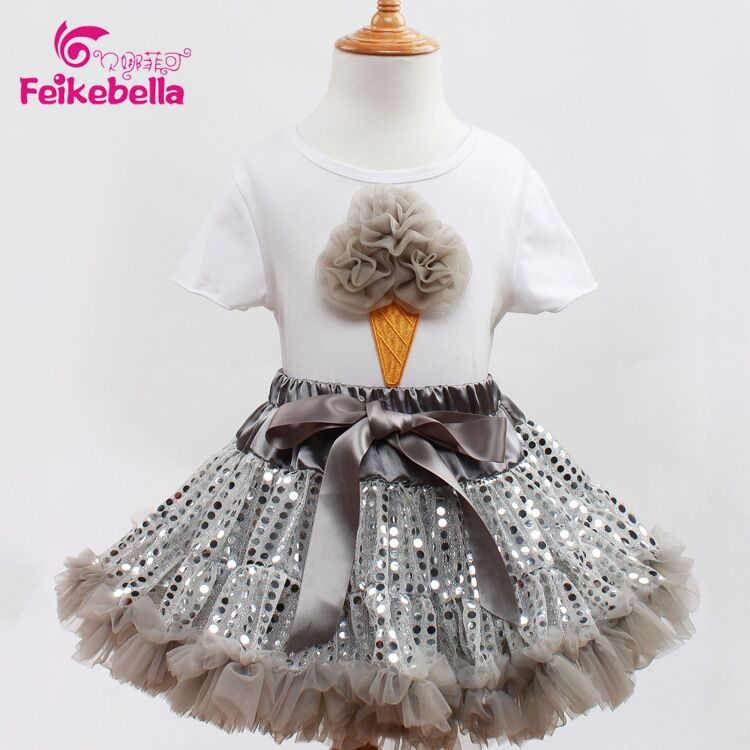 EMS DHL Free Shipping Toddler Girls 2016 New t shirt Prom skirt set summer Style Baby outfit Silver Sequined Sparkle Baby Suit ems dhl free shipping wholesales new arrival baby holiday pettiskirt tutu skirt bow party 2pc set holiday clothing costume