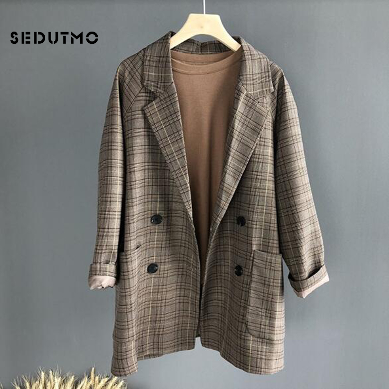 SEDUTMO Autumn Plaid Blazer Women Jacket Long Double Breasted Blazer Office Suit Spring Vintage Oversize CasualCoat ED477