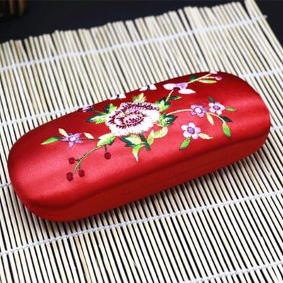 Высококачественная коробка ручной работы с двойной вышивкой, футляр для хранения очков, тонкая вишня, настоящая шелковая парча, Подарочная коробка, пенал - Цвет: Красный