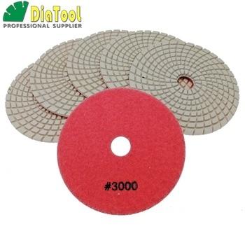 цена на DIATOOL 6PK 5 #3000 Diamond Flexible Wet Polishing Pad For Stone, Sanding Discs For Granite, Spiral Type Diameter 125mm
