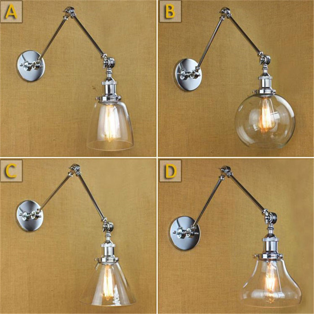 Industrial Wall Light Chrome: Loft Retro Industrial Swing Arm Chrome Colored Wall Lights