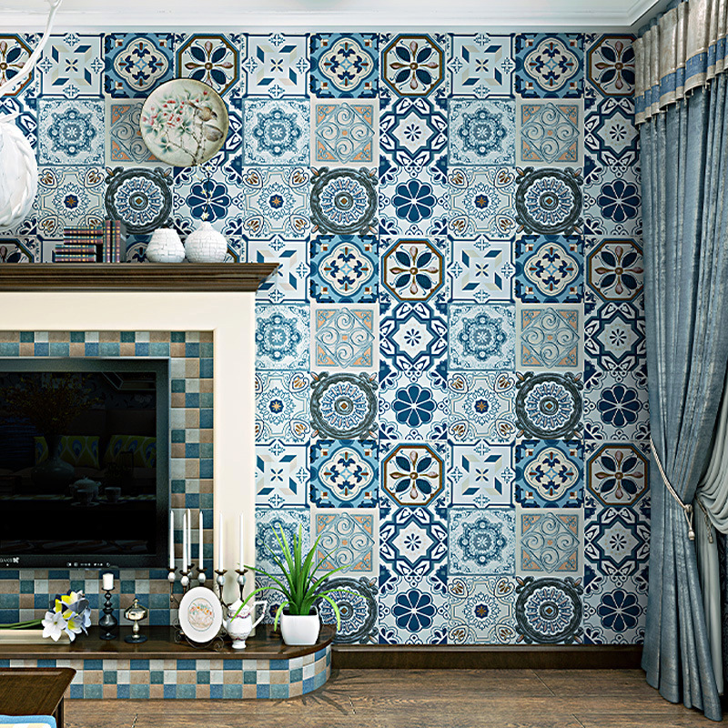 Imitation ceramic tile wallpaper background thickening wallpaper Bohemia national style Mediterranean southeast style paper