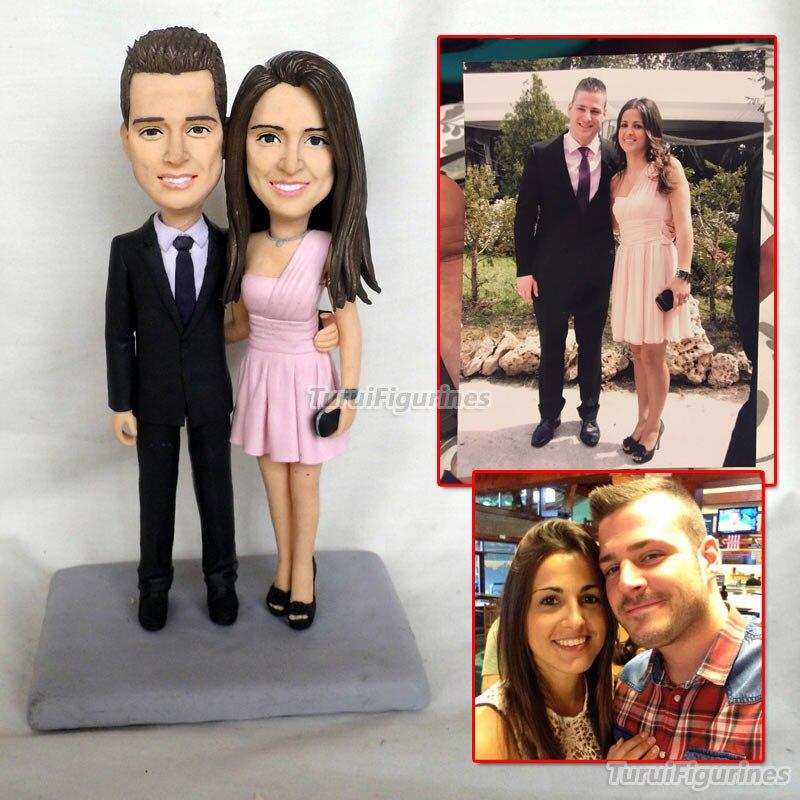 На заказ ooak кукла из полимерной глины детские для пары Подарок на годовщину свадьбы украшения торта миниатюрная скульптура статуя с имя, да