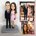 العرف ooak بوليمر كلاي دمية طفل للزوجين الزفاف هدية للذكرى السنوية كعكة الديكور مصغرة تمثال النحت مع تاريخ الاسم