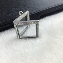 New Floating Locket Square Necklace Silver Stainless Steel Rhinestones Pave Square Charm Glass Memory Photo Pendant Necklace