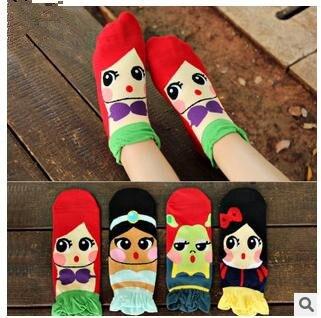 La nueva primavera y el verano 2015 estéreo de La Sirena Princesa Coreana calcetines de algodón calcetines de moda los calcetines ocasionales y encantadora dama