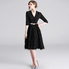 PADEGAO Women Black Feather Knee Length Night Slim Dress Elegant Turn Down Blazer Collar Fashion Temperament Party Summer