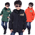 Winter 2015 new boy coat kids boys' winter outerwear hooded coat top quality thick wadded jacket/parkas child clothing 5-14Years